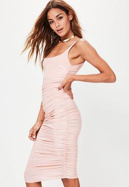 Nude Slinky Gathered Side Midi Dress