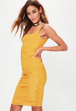 Yellow Slinky Gathered Side Midi Dress
