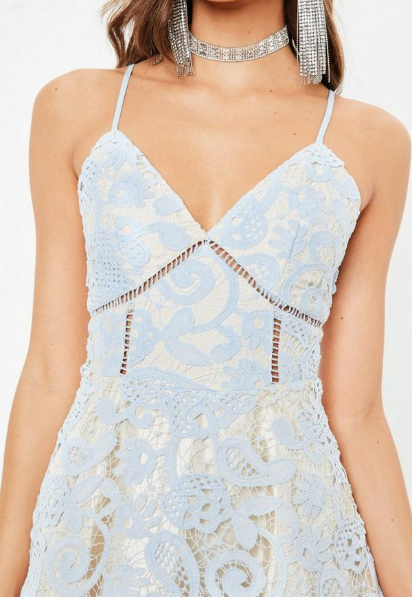 Blue Strappy Lace Skater Dress | Missguided