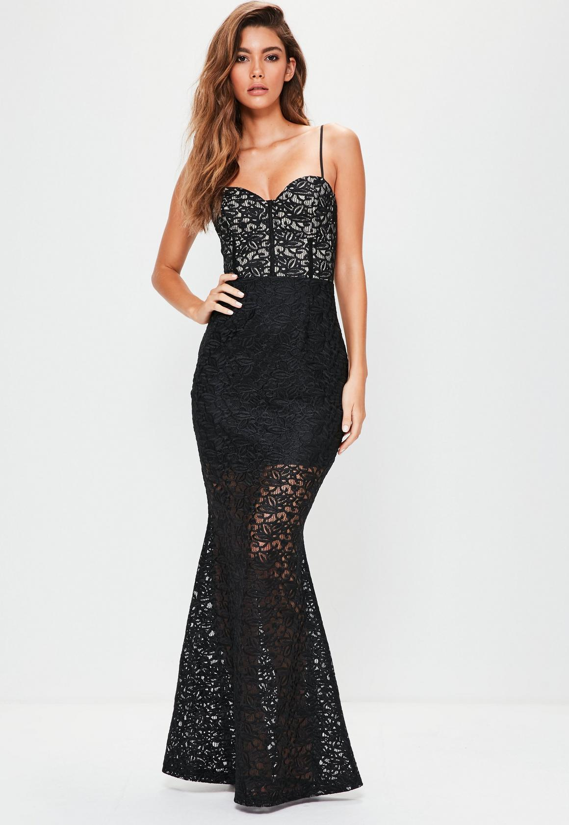 Black Strappy Bust Cup Lace Maxi Dress | Missguided