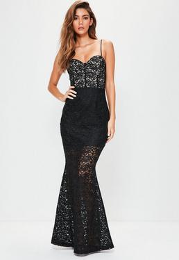 Black Strappy Bust Cup Lace Maxi Dress