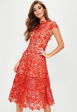 Red Short Sleeve Lace Midi Skater Dress