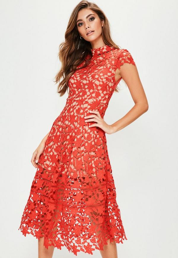 red short sleeve lace midi skater dress missguided