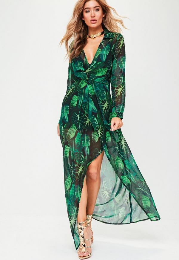 Green Long Sleeve Wrap Print Maxi Dress | Missguided