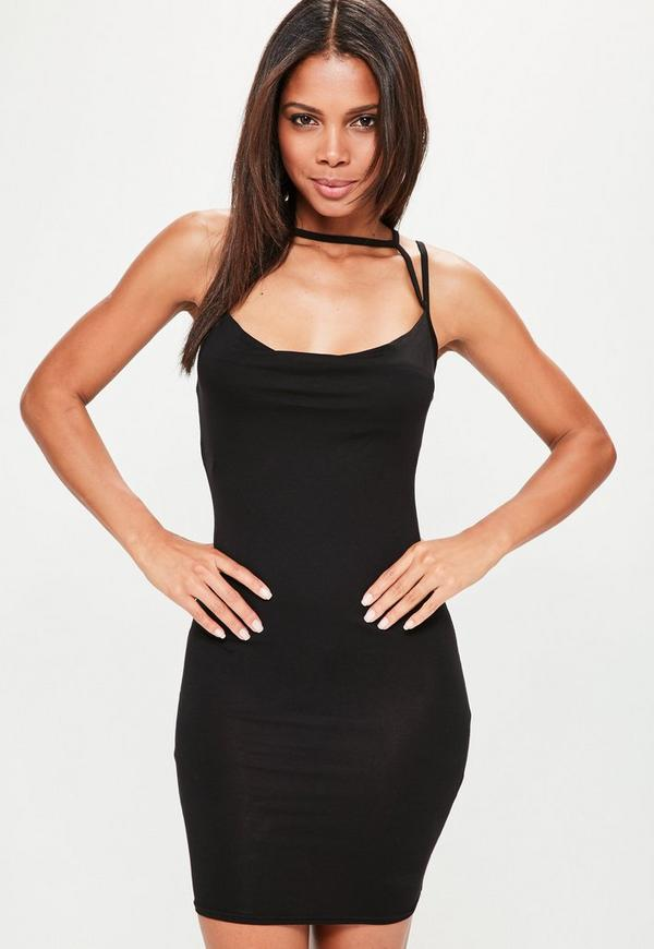 Black Cowl Front Multi Strap Jersey Dress