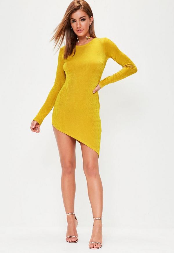 Mustard Yellow Asymmetric Hem Bodycon Dress