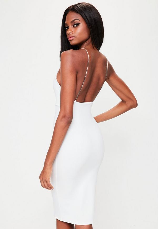 White Racer Neck Diamante Details Dress