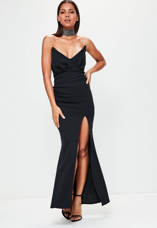 Black Bandeau Wrap Top Maxi Dress