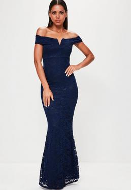 Navy Lace V Bar Bandeau Maxi Dress