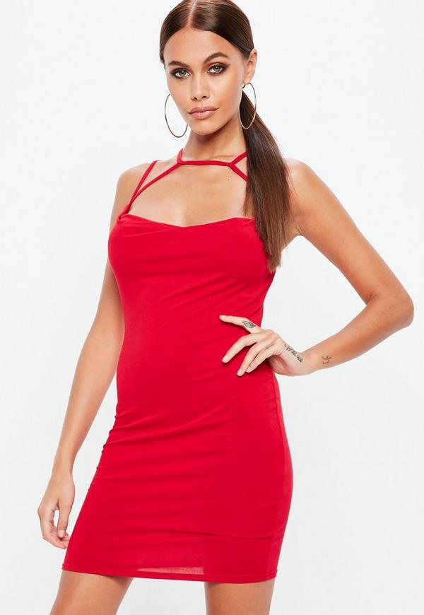 Red Cowl Front Multi Strap Jersey Dress