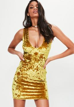 Yellow Crushed Velvet Sleeveless Plunge Bodycon Dress