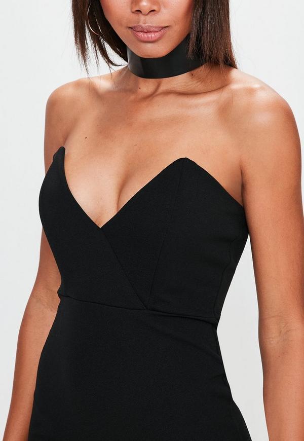 Schulterfreies Bodycon-Kleid in Schwarz   Missguided