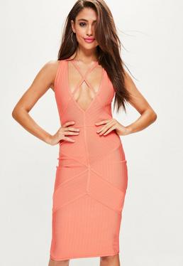 Orange Strappy Harness Bandage Midi Dress