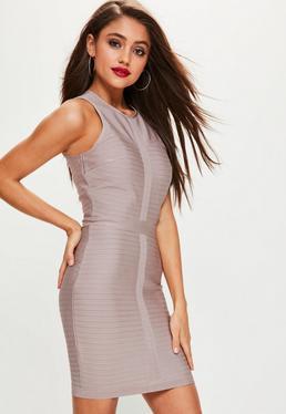 Nude Sleeveless Bandage Bodycon Dress