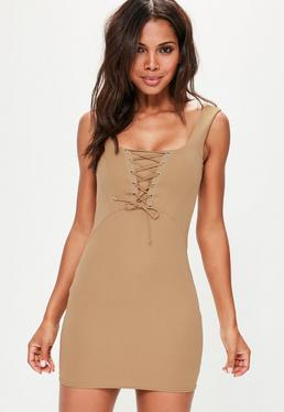 Nude Boned Lace Up Scoop Neck Bodycon Dress