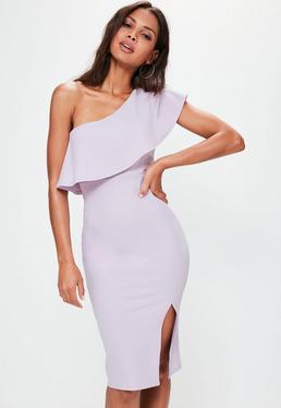 Vestido midi de hombro descubierto con volantes en lila