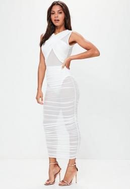 White Sleeveless Mesh Wrap Ruched Maxi Dress