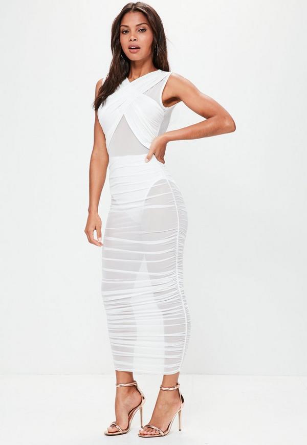 White Sleeveless Mesh Wrap Ruched Maxi Dress