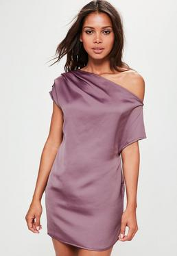 Purple Silky Off The Shoulder Shift Dress