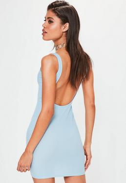Blue Scoop Back Bodycon Dress