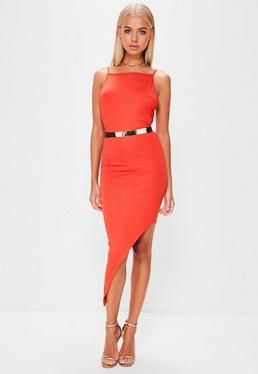 Orange Jersey Asymmetric Hem Bodycon Dress