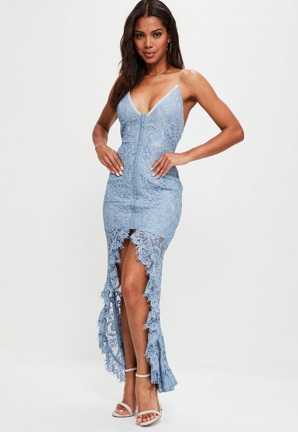Blue Strappy Dip Hem Lace Maxi Dress