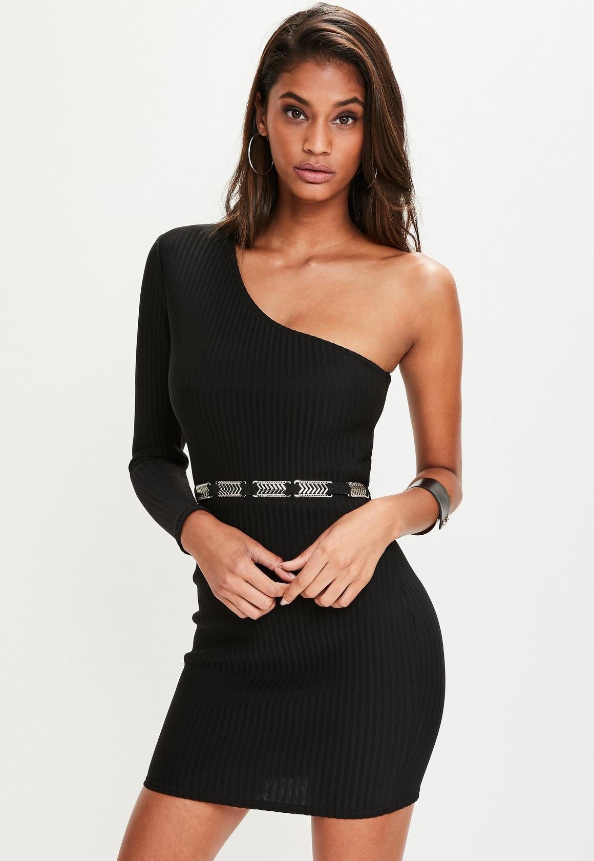 Black Ribbed One Shoulder Bodycon Dress | Missguided