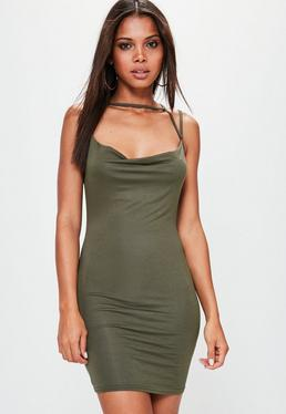 Khaki Cowl Front Multi Strap Jersey Dress