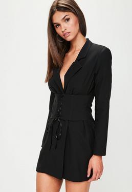 Black Corset Front Blazer Dress