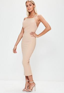Nude 90's Cut Back Midi Dress