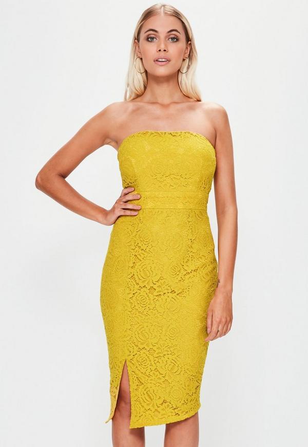 Yellow Lace Bandeau Midi Dress