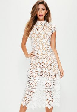 White Short Sleeve Lace Midi Skater Dress