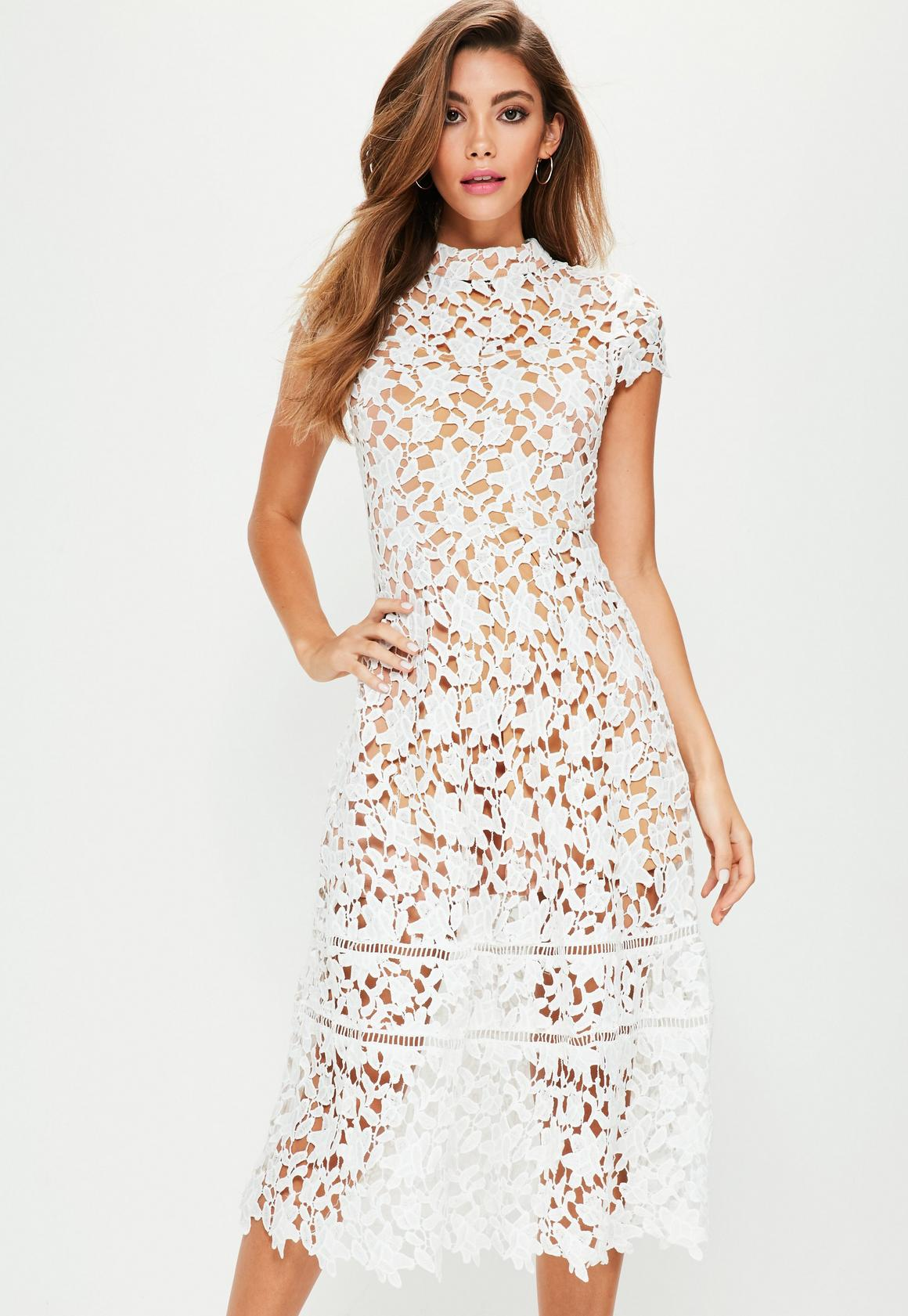 White Short Sleeve Lace Midi Skater Dress | Missguided