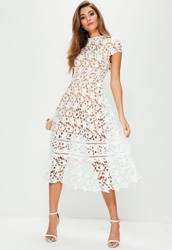 white short sleeve lace midi skater dress missguided