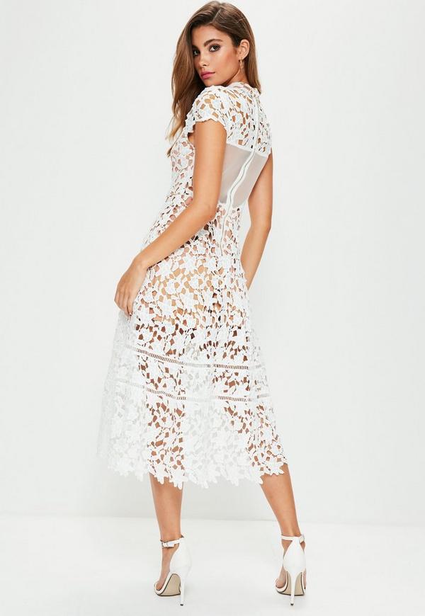 White long sleeve lace skater dress