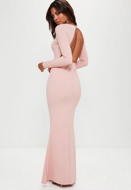 Pink Long Sleeve Open Back Maxi Dress