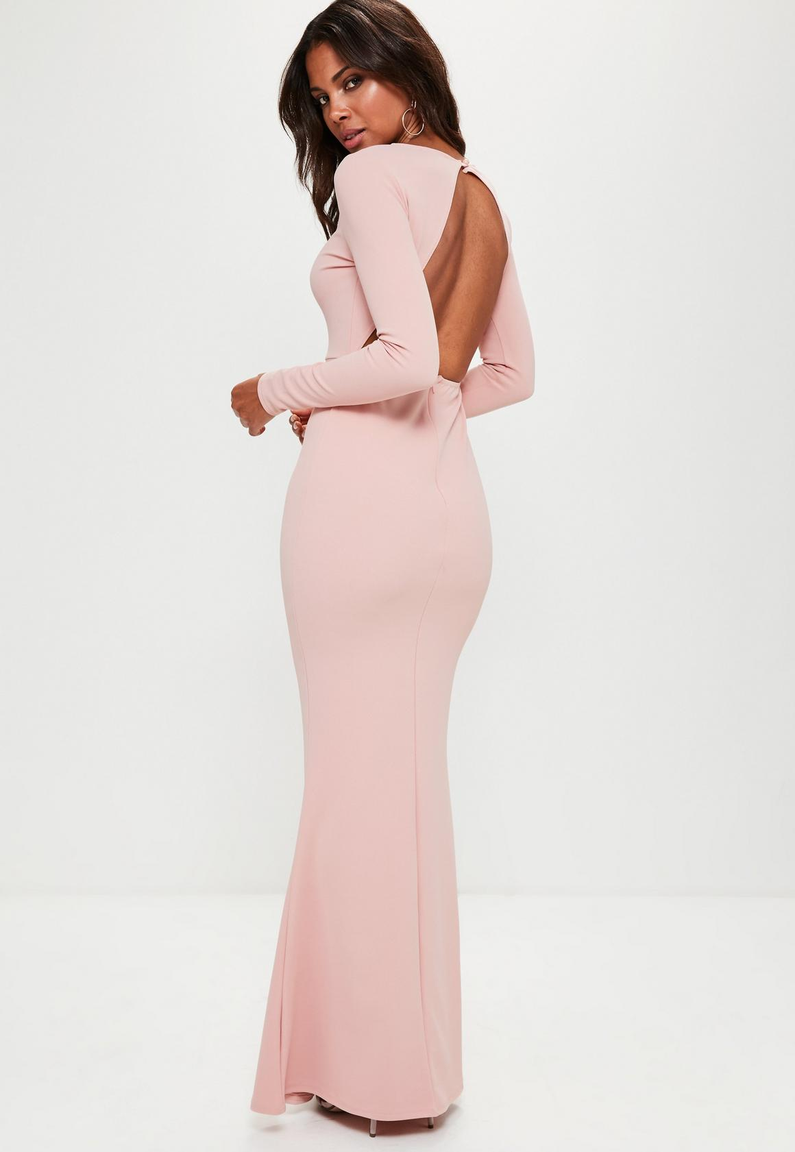 Pink Long Sleeve Open Back Maxi Dress | Missguided