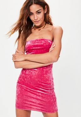 Pink Velvet Bandeau Bodycon Dress