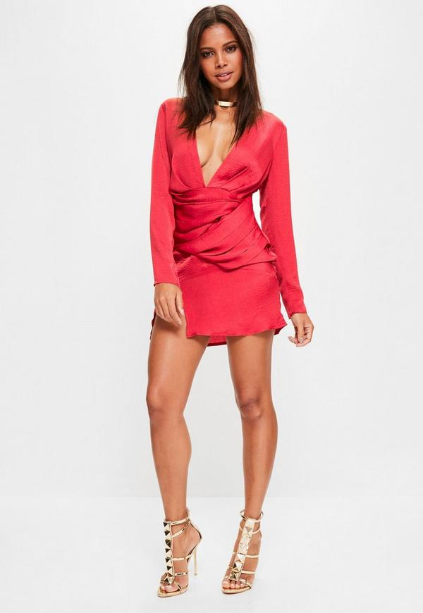 Red Silky Long Sleeve Panelled Shift Dress | Missguided