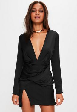 Black Silky Long Sleeve Paneled Shift Dress