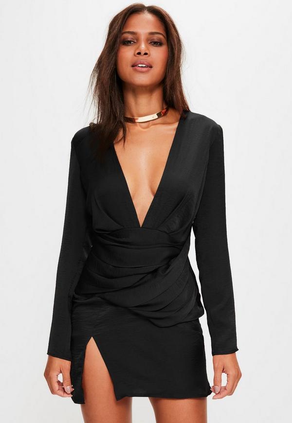 Black Silky Long Sleeve Panelled Shift Dress