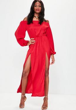 Czerwona sukienka maxi bardot z rozcięciami i bufiastymi rękawami