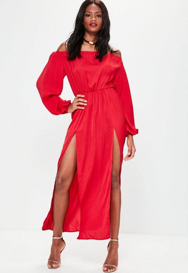 Red Bardot Balloon Sleeve Split Maxi Dress