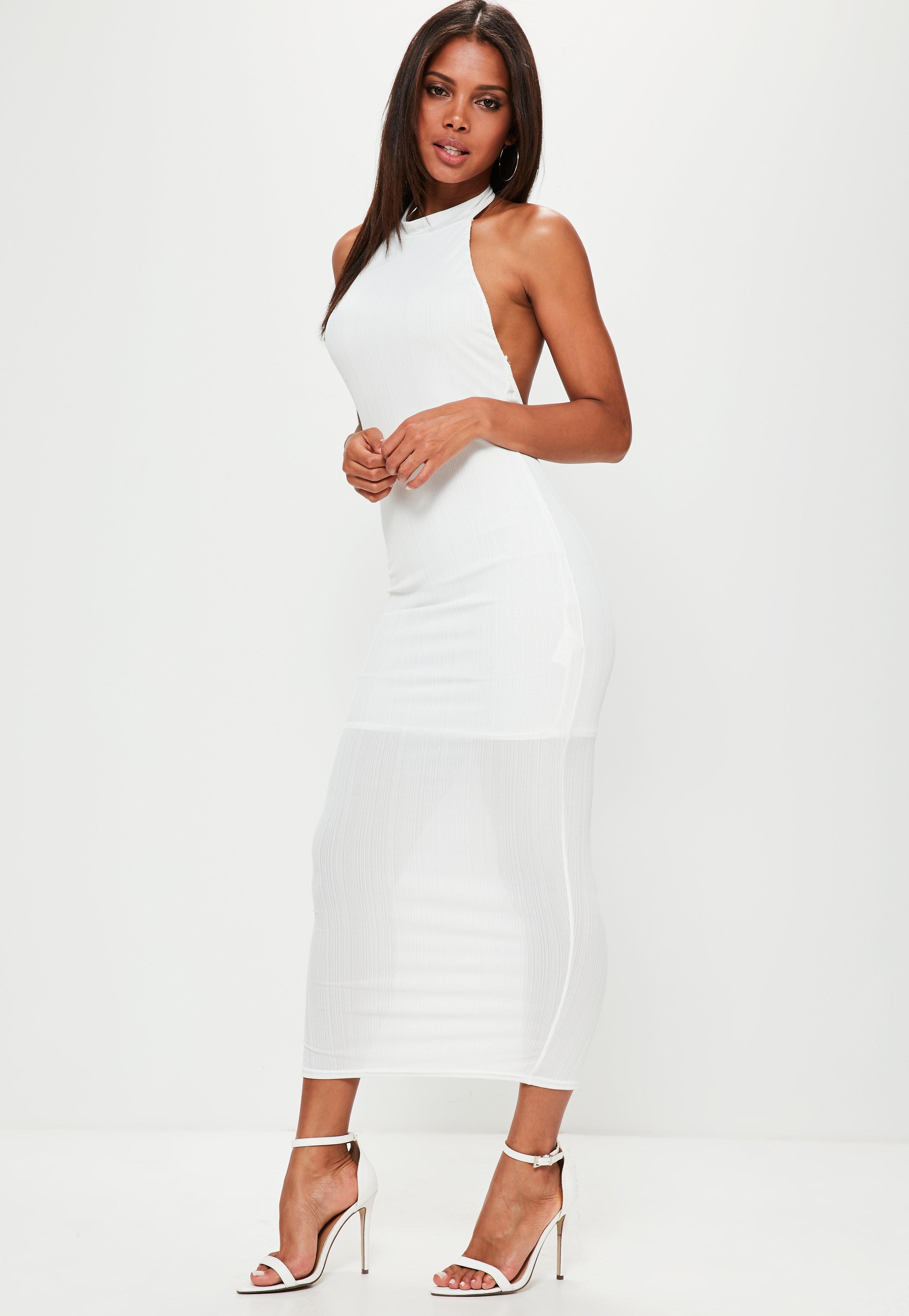 Floral mesh back maxi dress white long sleeve