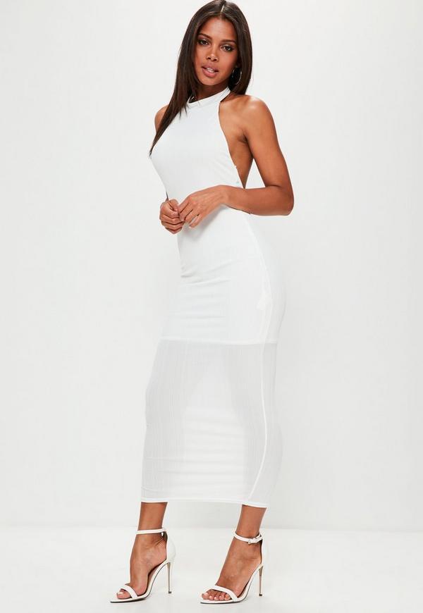 White High Neck Low Back Maxi Dress