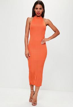 Orange High Neck Low Back Maxi Dress