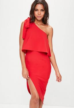 Red Crepe One Shoulder Bow Sleeve Midi Dress