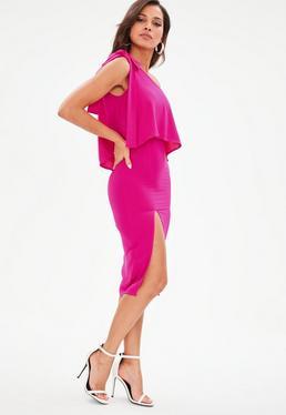 Różowa sukienka midi na jedno ramię z rozporkiem