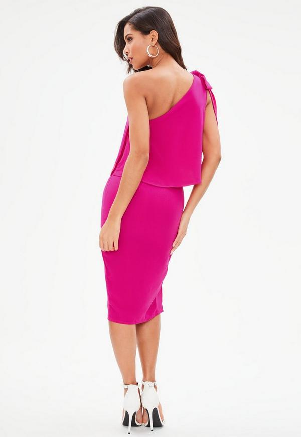 Pink Crepe One Shoulder Bow Sleeve Midi Dress | Missguided