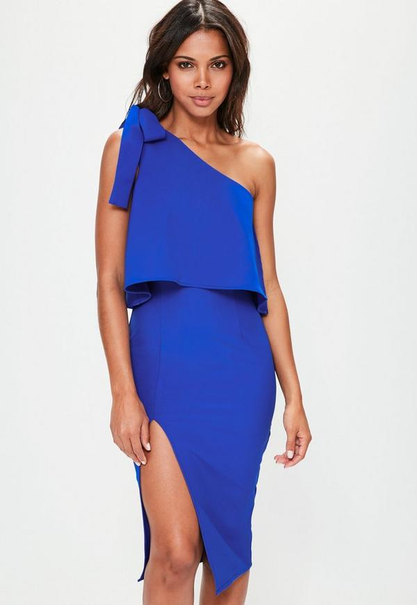 Blue Crepe One Shoulder Bow Sleeve Midi Dress
